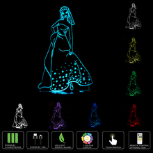 2017 New Night Light 3D Effect Beautiful Elegant girl LED Table Lamp as Children Christmas Gifts(China)