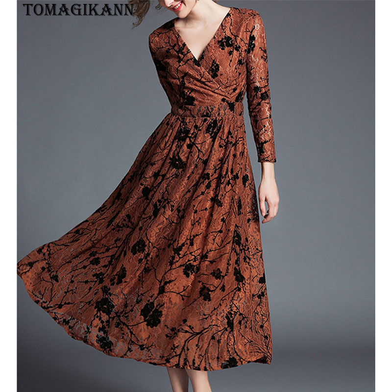2018 Spring Euro Style Flower Print Lace Deep V Neck Women Slim Dress Elegant Lady Brand Three Quarter Sleeve Sexy Dresses