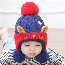 Winter Baby Hat and Scarf Cute Bear Crochet Knitted Caps for Infant Boys Girls Children Kids Neck Warmer(China)