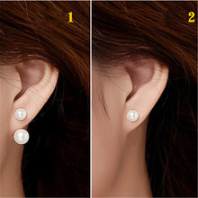 HOT SALE fashion brand style natural freshwater pearls stud double earrings jewelry for women(China)