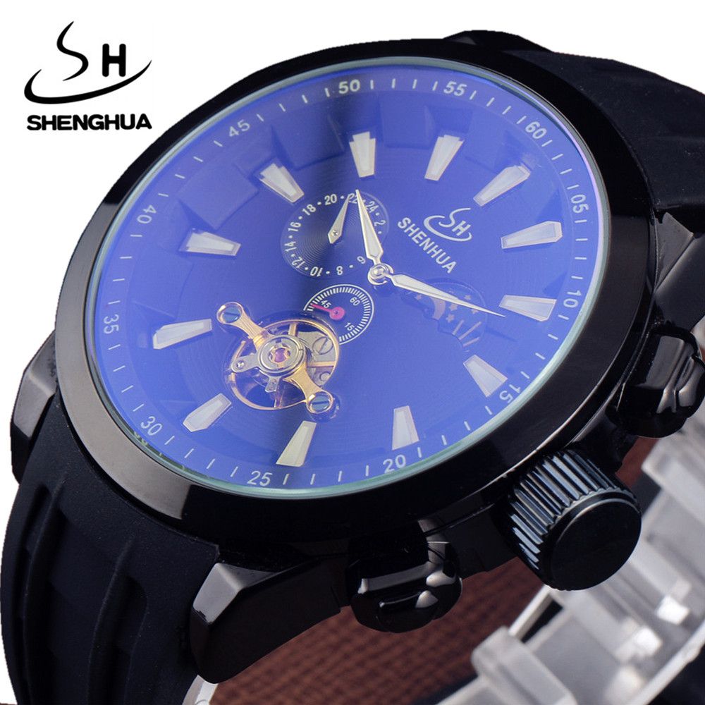 Top Brand SHENHUA Luxury Tourbillon Watch Men Coated Glass Moon Phase Black Rubber Band Automatic Mechanical Wristwatches Mens<br><br>Aliexpress