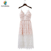 Lace White Crochet Dress For Women 2017 Summer Vintage Party Long Spaghetti Strap Dresses Sexy Club Evening Vestidos Mujer