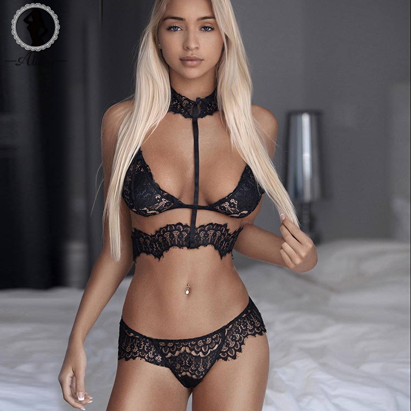 ALINRY sexy lace bra set women black floral push up transparent bralette plus size lingerie 2018 seamless underwear briefs sets