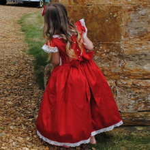 Lovely Red Taffeta Lace Girls Pageant Dress with Sash O-Neckline Cute Flower Girl Dresses for Weddings Custom Made Toddler Gown(China)