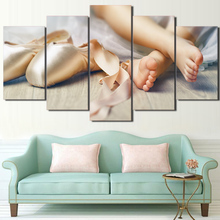 5 Piece HD Prints Poster Home Decor Framework Lovely Little Feet Canvas Little Girls Baby Ballet Shoe Pictures Painting Wall Art(China)