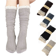 Fankris 2016 Women Crochet Lace Trim Cotton Knit Footed Leg Boot Knee High Stocking Thick Media Comfortable Hosiery Big Discount(China)