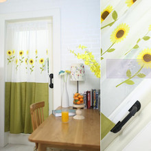 European Country Style Sunflower Embroidered Polyester/Cotton Splice Decorative Door Curtain  150*192cm height