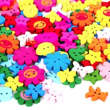 50PCs Wholesale Natural Wooden Buttons Colorful Mixed Flowers Heart Star Scrapbook Sewing Accessories DIY Craft 2 Holes