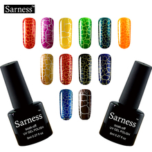 Sarness New Arrival UV Gel Varnish 12 Colorful Crack Gel Lacquer Crackle Shatter Nail Polish Cracking Gel Nails Polish Lucky(China)