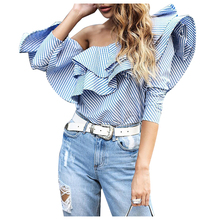 MAKE Hot Women's One Off Shoulder Ruffles Blouse Shirt Fall Sexy Blue Striped Shirt Long sleeve Cool Blouse Short Tops(China)