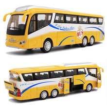 1:48 free shipping Tour buses Alloy Diecast Car Model Pull Back Toy Car model Electronic Car with light&sound Kids Toys Gift