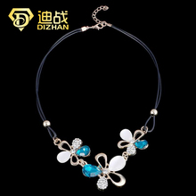 Fashion Jewelry White/blue Crystal Flower Choker Necklace Leather Chain Statement Crystal Daisy Necklaces & Pendants For Women