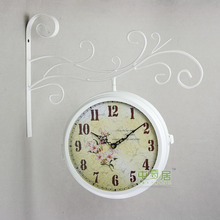 Wrought Iron Wall Clock Modern Design Watch Saat Double-sided Wall Clock Relogio de Parede Reloj de Pared Horloge Murale Clocks
