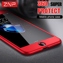 ZNP Full Cover Red Case For iPhone 6 6S 5S 5 With Tempered Glass 360 Degrees Case For iPhone 7 7 Plus 6 6S Plus Phone Case Capa