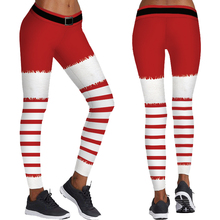 Red White Stripes Women Christmas Leggings Skinny Bodycon Tights High Waist Fitness Sports Yoga Trousers Santa Elf Tayt Pants
