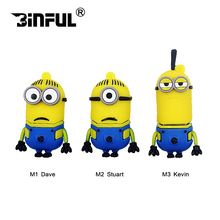 Cute Cartoon Funny Minions usb flash drive 4gb 8gb 16gb pen drive 32GB 64gb flash memory usb stick 128gb u disk pendrive gift(China)