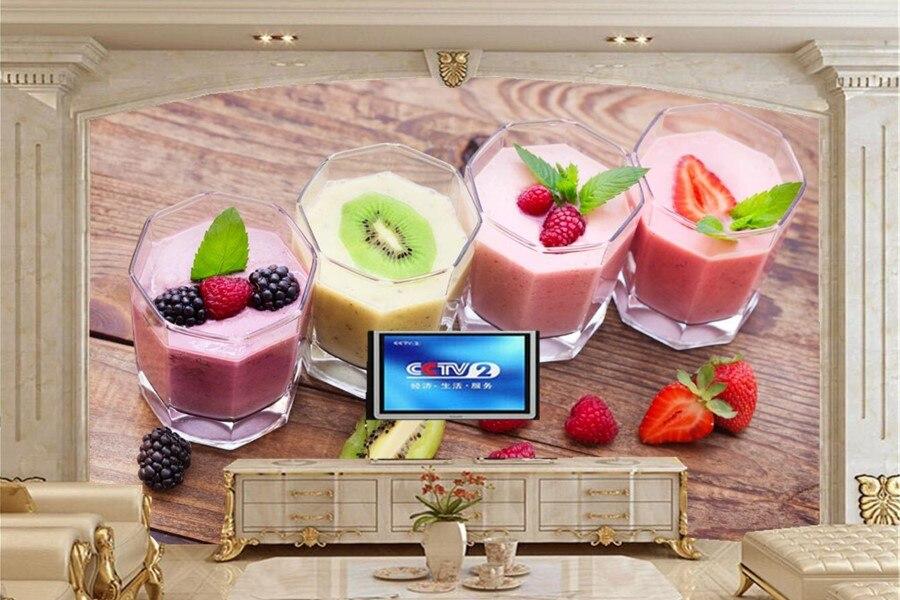 Custom 3d wall murals wallpaper,fruit Drinks glass Food wallpaper,restaurant dinig room tv sofa wall kitchen papel de parede<br>