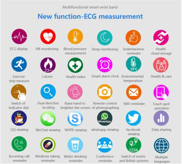 CD01 Graphene ECG HeartRate Blood Pressure Smart Bracelet for iphone Android Sleep Pedometer Activity Tracker Call SMS Reminder 20