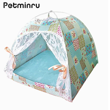 Petminru Summer Breathable Pet Tent Dog house Foldable Pet House Kennel Detachable Cat Bed With Mats pet supplies(China)
