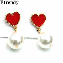 Red Love Heart Simulated Pearl Earrings For Women Fashion Jewelry Wholesale Cute Gift 2017