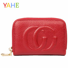 YaHe Genuine Leather Card Holder Women Mini Car Wallets Brand Designer Bags ID Credit Card Case Pillow Small Coin Purse Lady