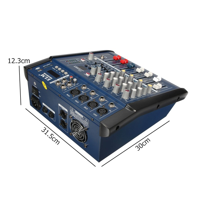LEORY Professional Karaoke Audio Mixer Power Amplifier 4 Channel Microphone Sound Mixing Console With USB 48V Phantom Power