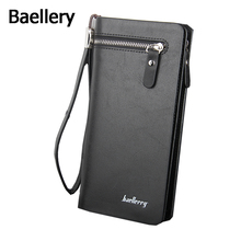 Baellery Classic Vintage Male Hasp Long PU Leather Wallet Business Man Purse Card Holder Male Clutch for Men