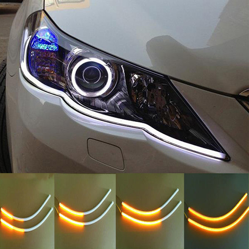 2pcs 60cm Car Flexible Strip LED Amber Sequential Flasher Flowing Switchback Turn Signal Light Angel Eye DRL Lamp Headlights(China)