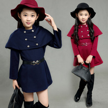 New design children clothing belted girls winter clothes auburn navy girls dresses winter 2016(China)
