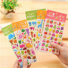 1 Sheet 3D Puffy Bubble Stickers Fruit Cat Cake Giraffe Zoo Sea Stickers for Kids Cute DIY Craft Scrapbook refrigerator Stickers