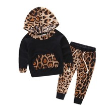 2PCS Baby Outfits Autumn Winter Kid Baby Boys Girls Leopard Pullover Hooded Coat + Long Pants Clothes Set