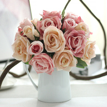 9 Heards/Bunch 27CM Nearly Nature Silk Roses Artificial Flowers Top Grade Bridal Bouquets For Wedding Sweet Home Decor DIY