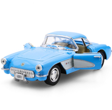 1/34 Scale KiSMART Diecast Car Model Toys Classic 1957 Chevrolet Corvette Vintage Metal With Pull Back Car Toy For Gift Children