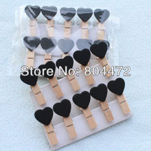 600 Black Love Heart Wooden Pegs Bag Clips for Home Wedding Decor|Gift wrapping Packaging | any Craft projects