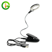 LED Book Lights 18 LEDs USB / USB Clip Flexible Desk Table Lamp DC5V With Magnifier For Reading Working Lighting(China)