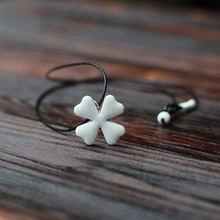 Lucky Four-leaf Clover Pendant Charm Clavicle Handmade Ceramic Necklace Rope Chain Small Adorn Article Jewelry National Style
