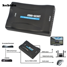 kebidu 1080P HDMI to SCART Video Audio Upscale Converter AV Signal Adapter HD Receiver TV DVD US/EU Power Plug