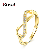 Kinel 2017 New Eight characters inlay zircon Ring For Women Gold color Rose gold color Romantic Jewelry Fashion Engagement ring(China)