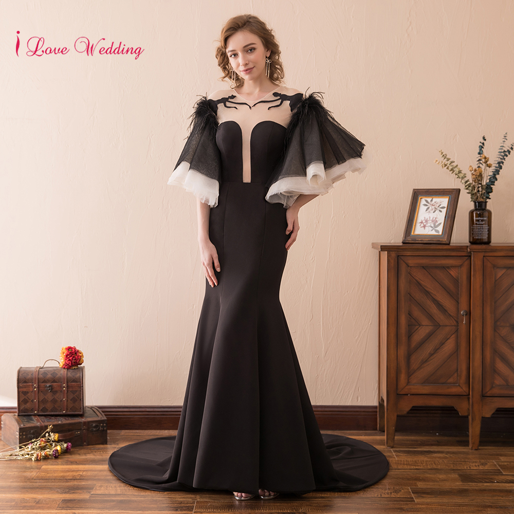 Sexy Open Back Womens black Evening Gown Half Speaker sleeve Mermaid Evening Dresses Sheer Straps Scoop Neckline Party Dresses