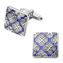 High quality men's fashion jewelry square plum flower form blue enamel cufflinks French shirt sleeve cuff links(China)