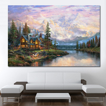 QCART Wall Art Picture Home Decor Modern Thomas Kinkade Cathedral Mountain Canvas Painting No Frame Paintings On Canvas(China)