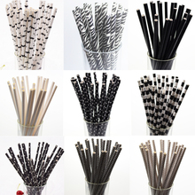 25pcs Black Paper Drinking Straws Star Striped Mustache zebra Paper Straw for Baby Shower Wedding Birthday Halloween Party Decor(China)