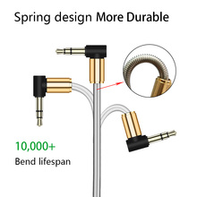 Buy Spring Metal Aux Audio Cable 3.5MM 90 Angle Male Male Stereo Car Accessory Bundles 1M iphone 6 Samsung camdems 200pcs for $222.75 in AliExpress store