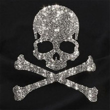 30*27cm Elegant SKull design hot fix rhinestone transfer motifs iron on crystal transfers design patches fixing rhinestones(China)