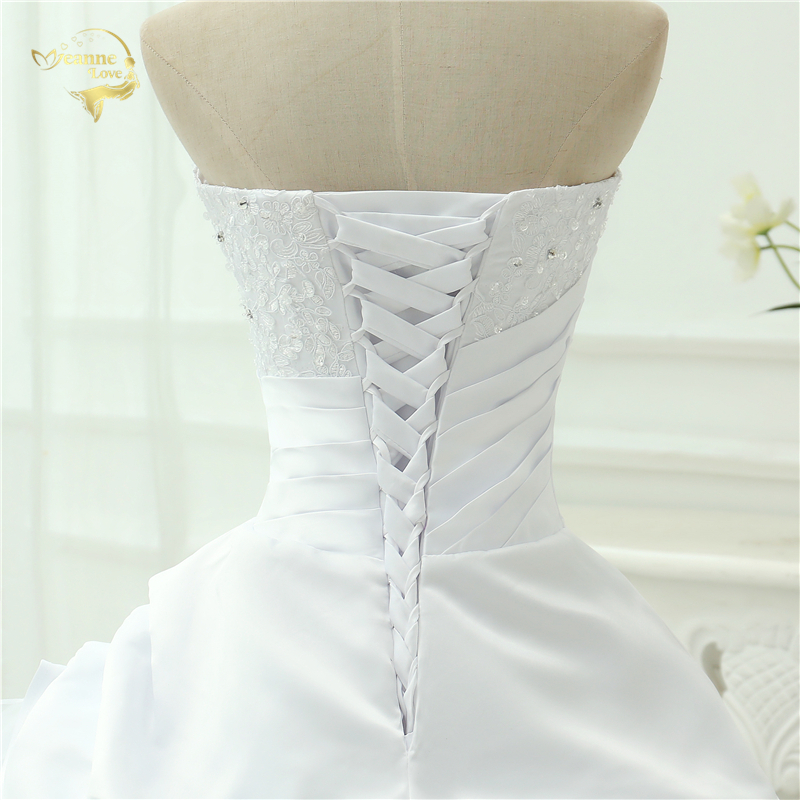 Classic Style Vestidos De Noiva A Line Robe De Mariage Strapless Applique Bridal Gown Wedding Dress 2018 Chapel Train YN0120 10