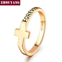 Top Quality Concise Cross Ring Rose Gold Color Austrian Crystals Full Sizes Wholesale ZYR180 ZYR181
