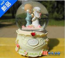 Free Shipping Collectibles romantic gift to send girls day gift ideas crystal ball music box city in the sky boys