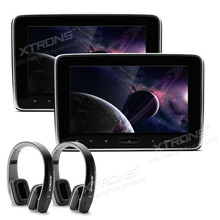"XTRONS 2pcs 10.1"" Car Headrest DVD Player PC Monitor HD Digital TFT Screen Touch Panel with HDMI Port with headphones"