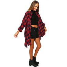 Women Red Plaid Long Shirt Coat Turn Down Collar Casual Loose Shirts Tops Blouse Plus Size HT