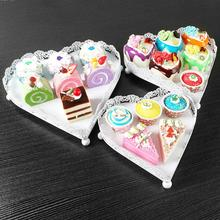 British Style Afternoon Tea Cupcake Stand White Iron Heart Shape Dessert Plate Home Baking Wedding Decoration Cake Tools W15(China)